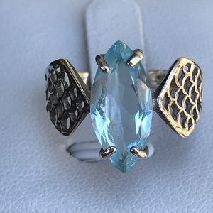 Marquis Shaped Blue Topaz Ring